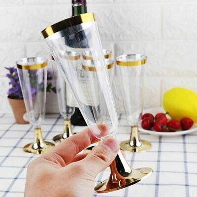 6pcs Disposable Plastic Red Wine Glass Champagne Flute Cocktail Party Drink Cup