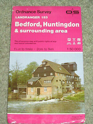 OS Ordnance Survey Landranger Map Sheet 153 Bedford, Huntingdon & surroundings