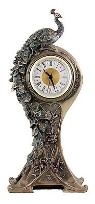 Veronese Bronze Figurine Art Nouveau Peacock Table Clock Gift Home Decor