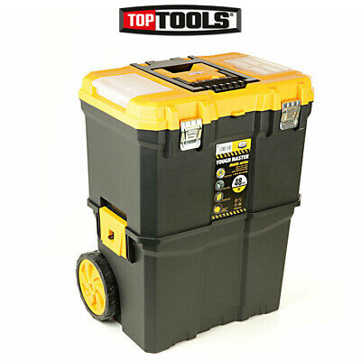 Heavy Duty Rolling Storage Toolbox & Organiser Box with Foldable Comfort Handle