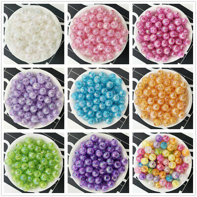 50PCS 8mm Transparent Multicol Acrylic Round Pearl Loose Beads Jewelry Making C