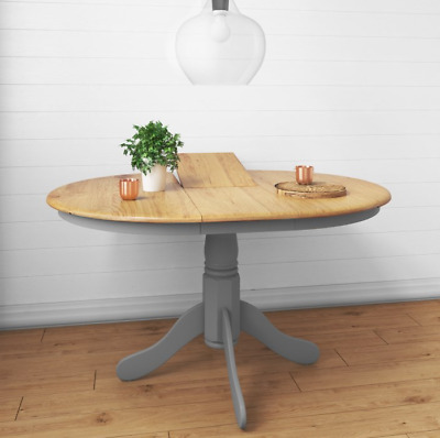 Large Extending Dining Table Grey Oak Furniture Round Pedestal Rustic Solid Wood