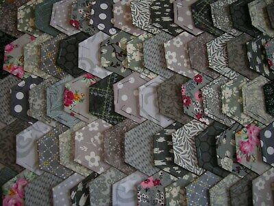 Fabric Hexagons X 100 Tacked To Paper Template Epp Multi  Grey Patchwork  Gre