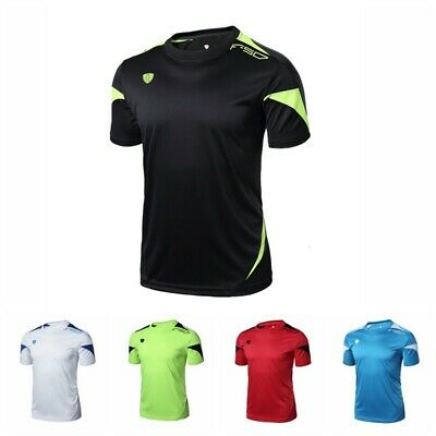 Mens Breathable  Quick Dry Wicking Sports T-shirts Mesh Lined Short Sleeve Tops