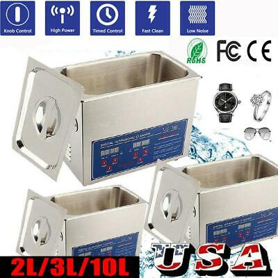 2/3/10L Liter Stainless Steel Industry Heated Ultrasonic Cleaner Heater w/Timer