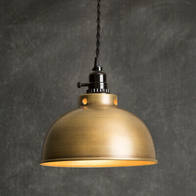Rustic DOME PENDANT LAMP ANTIQUE BRASS Primitive Country Light Farmhouse Hanging