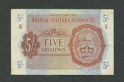 BRITISH MILITARY AUTHORITY  5 sh  WWII  Krause M4  About VF  Banknotes