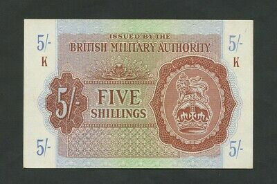 BRITISH MILITARY AUTHORITY  5 sh  WWII  Krause M4  About EF  Banknotes