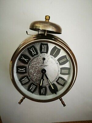 Vintage Rare Wind Up Table Alarm Clock Jerger Made In West Germany