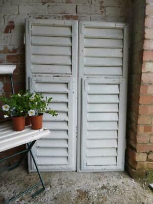 VINTAGE WOODEN SHUTTERS WINDOW SHABBY ANTIQUE FRENCH 121x80cm   FREE post