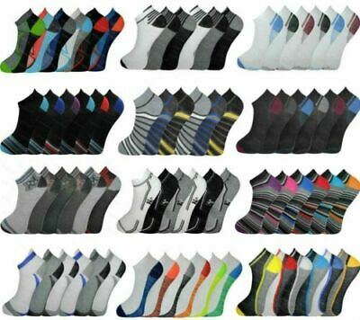 6 12 Pairs Mens Trainer Liner Ankle Socks Funky  Adults Sports 6-11 MIX LOT