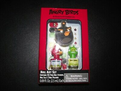 ANGRY BIRDS* 47pc Nail Art Gift Set/Lot 44 STICKERS+1 FILE+ 2 POLISH Sale (A1)