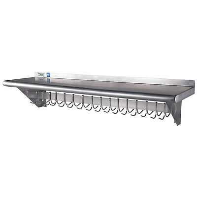 """12"""" x 48"""" Stainless Steel Wall Mounted Pot Rack with Shelf and 18 Hooks"""