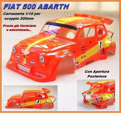 Carrozzeria Body 1/10 200mm Fiat 500 ABARTH Arancio/Gialla Verniciata Painted