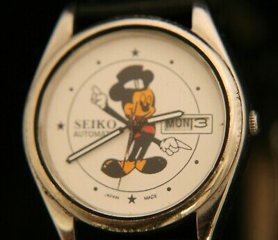Rare 1989 Seiko automatic day/date official Mickey Mouse Walt Disney wristwatch