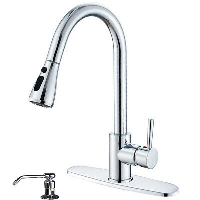 Chrome Industrial Kitchen Bar Sink Faucet Pull Out Sprayer Mixer Tap With Cover