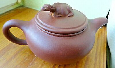 TEAPOT Chinese grès emaillé (prise buffle) signed Théière CHINE yixing zhisa