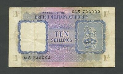 BRITISH MILITARY AUTHORITY  10 sh  WWII  Krause M5  Fine  Banknotes