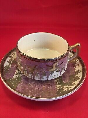Original Handpainted Chinese Satsuma meiji period tea cup and saucer signed
