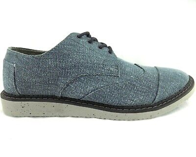 TOMS Mens Casual Oxfords Sz M 9 Blue Gray Dress up Stylish Jean style Ships Free