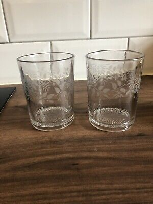 Pair Of Antique Georgian/Victorian Glass Tumblers Etched Pattern