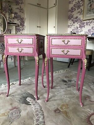 Pair Of French Louis Olympus Two Drawer Bedside Cabinets Cabriole Legs Vintage