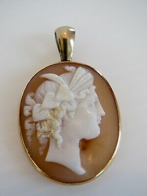 """Antique Vintage Estate 14K Yellow Gold CAMEO PENDANT 1 5/8"""" by 1""""wide& 4.9 grams"""