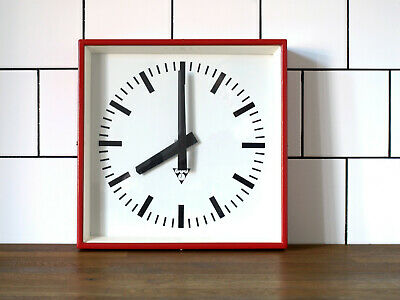 industrial vintage wall clock - PRAGOTRON - metal square retro clock - RED