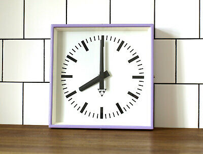 industrial vintage wall clock - PRAGOTRON - metal square retro clock - MAUVE