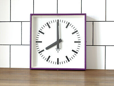 industrial vintage wall clock - PRAGOTRON - metal square retro clock - VIOLET