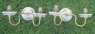 Vintage Pair of Wall Lights Ceramic Flowers and Brass - Pretty