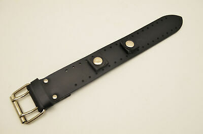 20mm Black Leather Bikers Watch Band wide strap w/buckle Punk Rock Skaters cuff