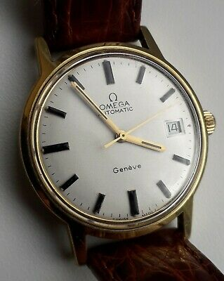 da3735542 VINTAGE OMEGA AUTOMATIC GENEVE DATE GOLD PLATED 1970sWATCH ...