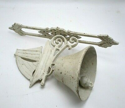 Vintage Wall Mount Door Dinner Bell Cast Iron Sailboat Rustic Nautical Decor