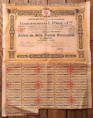 action de Mille Francs Nominative - Établissements L. PAGE & Cie -Luxeuil - 1928