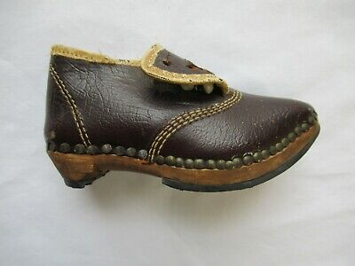 Antique Victorian Lancashire Baby Button Shoe Clog Wood Leather