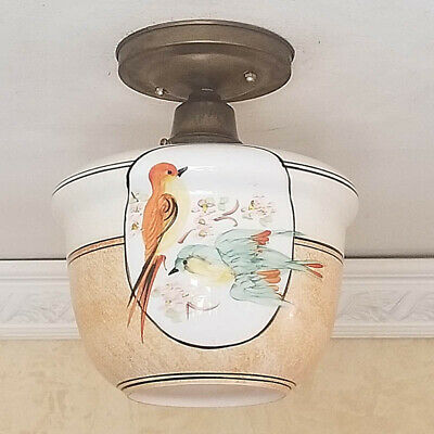 675b Vintage Ceiling glass Light Lamp Fixture Re-Wired kitchen bath porch