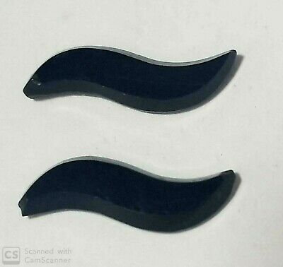 Antique Black Onyx Pair of Swirl Faceted Shiny Stones 22 mm x 5.5 mm 2/set F724