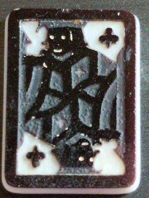 Antique Carved Black & White King of Clubs Card Cameo Stone Unusual #AA28