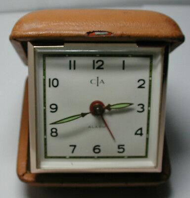 Antique Vintage CIA Travel Alarm Clock in Travelling Hard Case