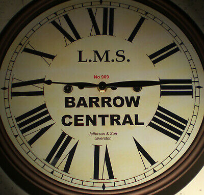 LMS Railway, London Midland & Scottish Wall Clock, Barrow in Furness Station.