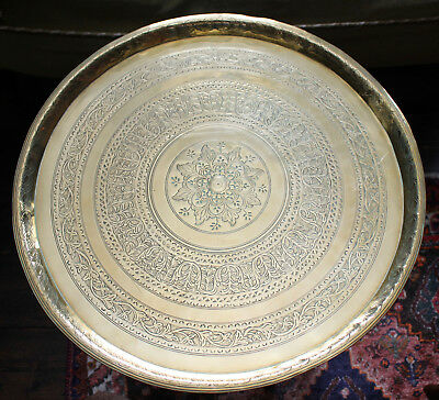 A Heavy Antique c19th Solid Brass Benares Tray/Table Top, Hand Chased Brass