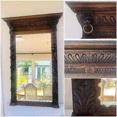 LOVELY LARGE FRENCH ANTIQUE 19th CENTURY OAK MIRROR, C1900