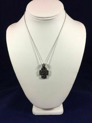 James Avery RARE/RETIRED Sterling Silver Daisy Flower Cross Pendant Necklace