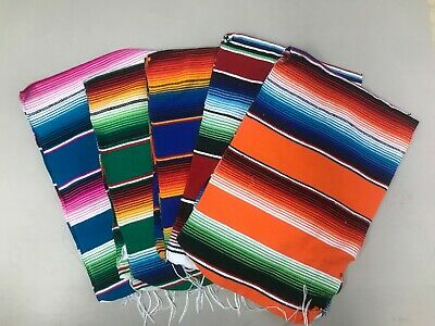1 PIECE SARAPE MEXICAN BLANKET, SALTILLO 81  x 14 Inches,ASSORTED COLORS ,FIESTA