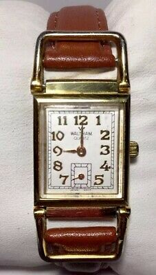 Vintage Women Waltham Watch Wb120 012 Gold Case Brown Leather Band Second Subdia