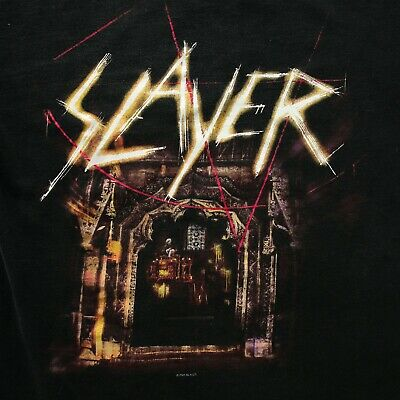 """2001 VTG Slayer Tour Shirt Double Sided Graphic """"God Hates Us All"""" Metal"""