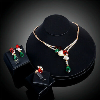 18K Fashion Gold Plated Crystal Pearl Necklace Earrings Ring Wedding Jewelry Set