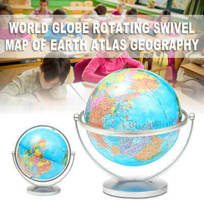 World Globe Rotating Earth Map Geography Kids Learning Desktop Decor 27cm Height