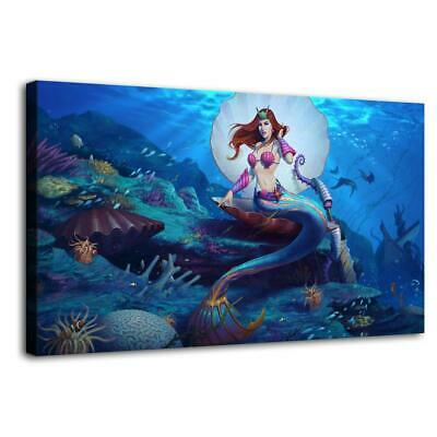 Mermaid HD Print Painting on Canvas Home Decor room Wall Art Promotion 12x20